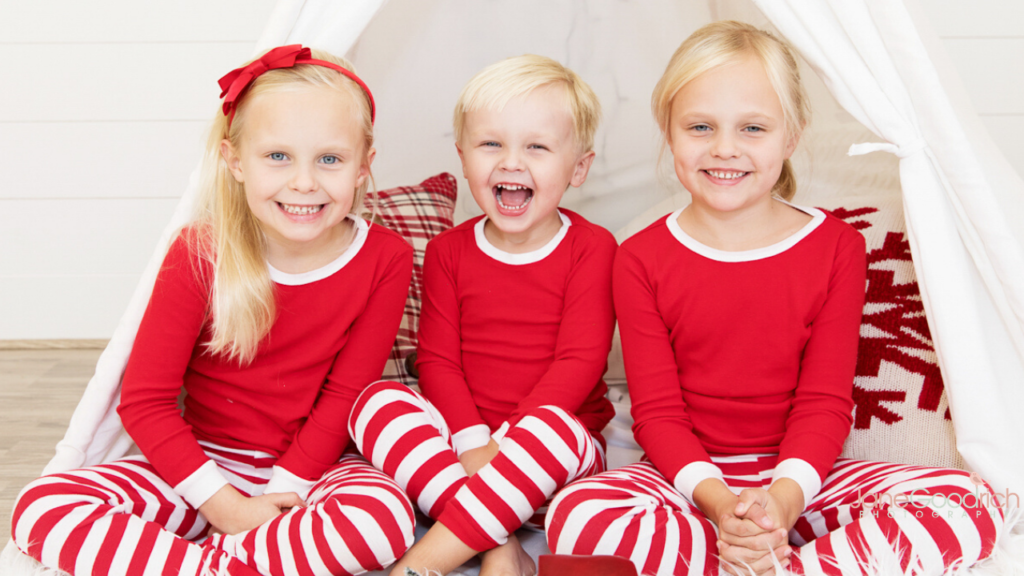 larchmont, NY sisters and bother holiday pjs in-studio photograh