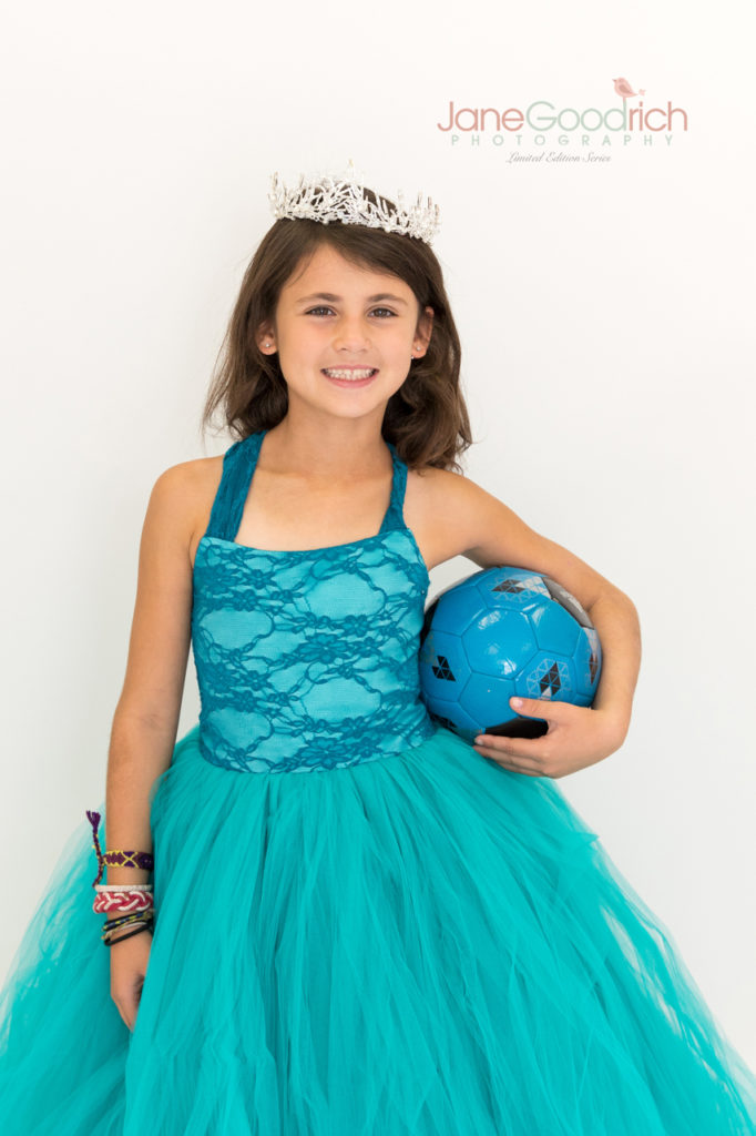 sporty princess soccer girl and couture dress teal