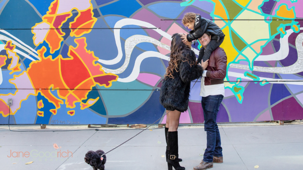 Urban family photography session manhattan in front of colorful mural jane goodrich newborn baby and family photographer