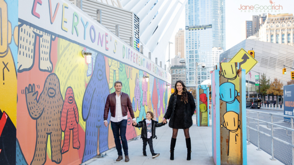 Urban family photography session manhattan with colorful mural jane goodrich newborn baby and family photographer