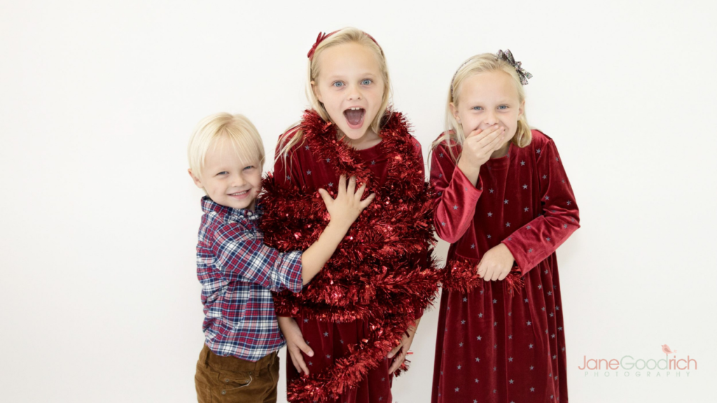In studio holiday photo shoot with Jane Goodrich Photography