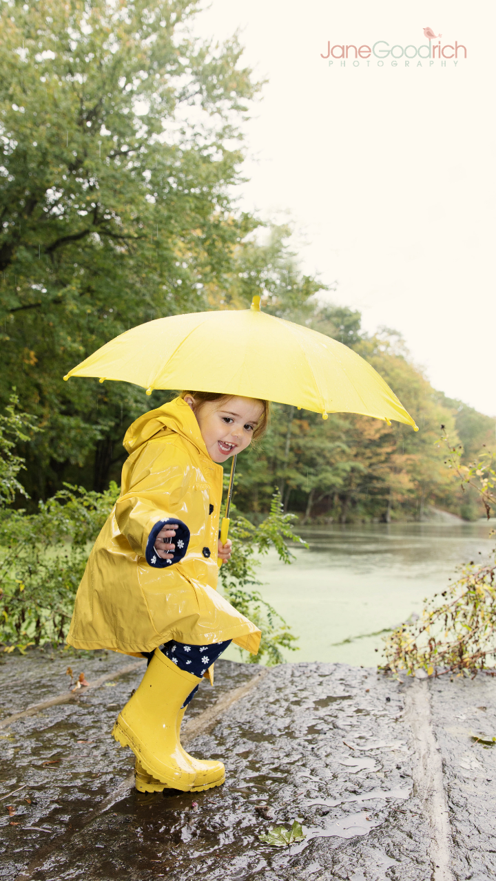 little girl in yellow raincoat with umbrella how to photograph your kids digital course with Jane Goodrich